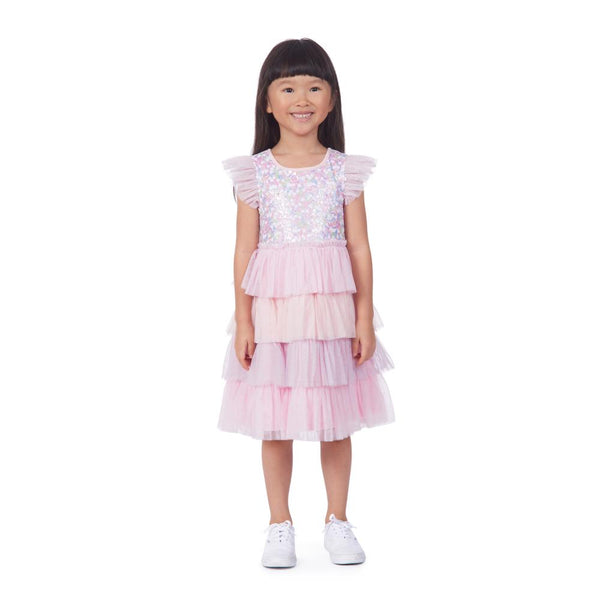 Dress - Leah Pink Sequin Tiered Dress