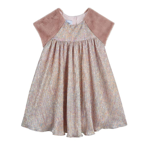 Rachel Metallic Pleated Dress