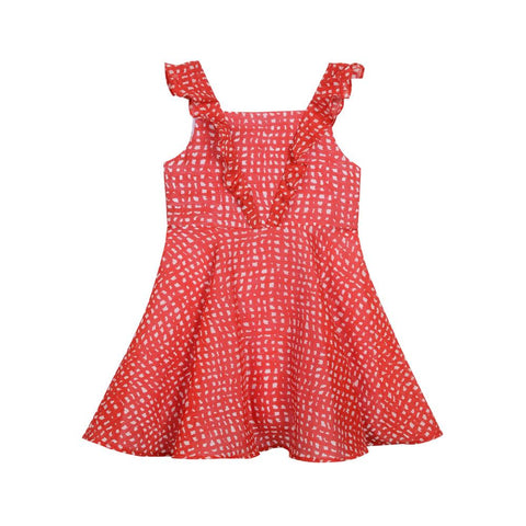 Silvia Red Ruffle Dress