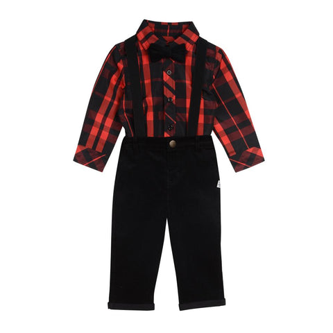 Little Brother Levi Red Suspenders Set