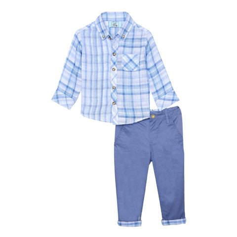 Little Brother Henry Blue Plaid Set
