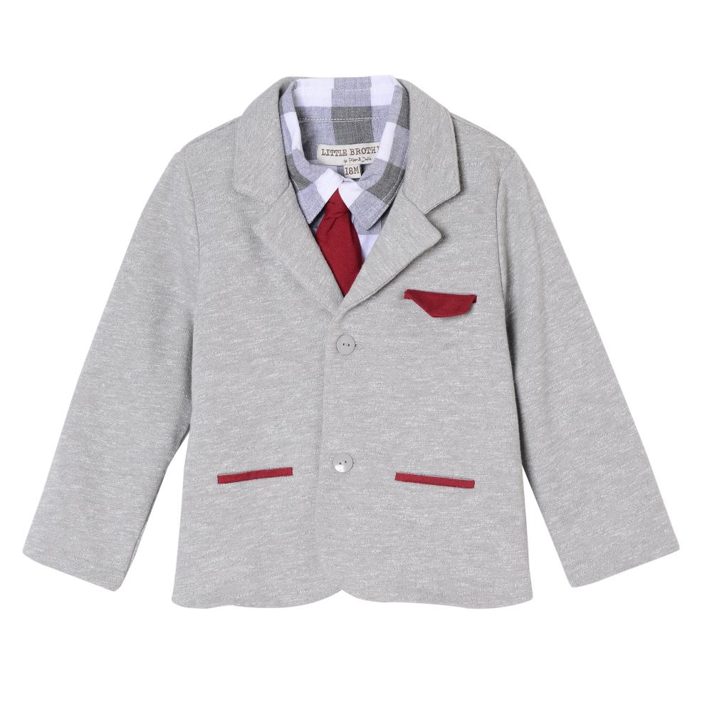 Outfit - Little Brother Jackson Red And Grey Suit