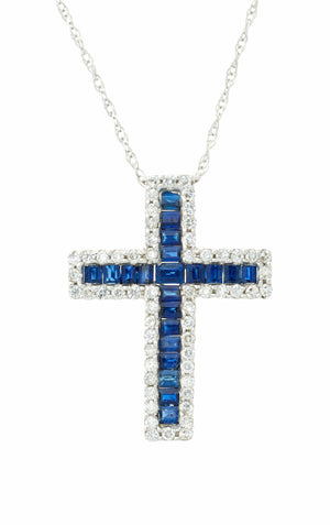 Gold Sapphire and Diamond cross