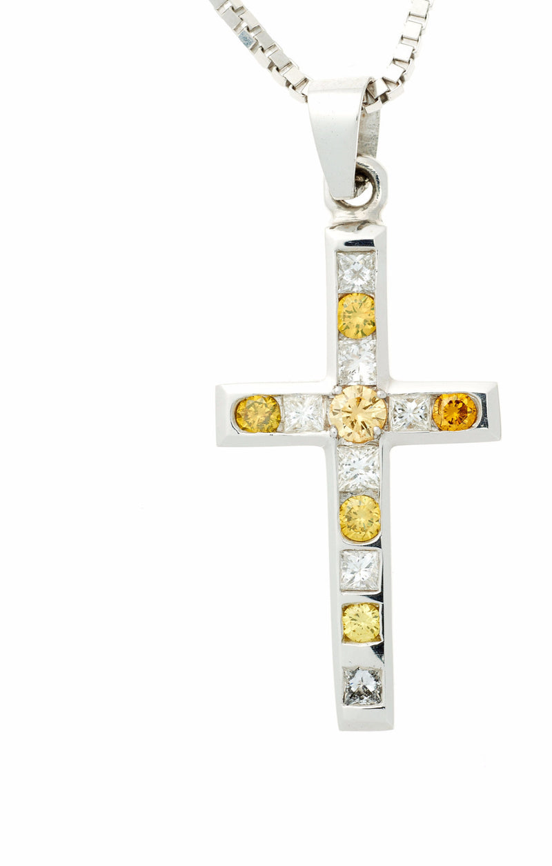 14k Yellow Diamond Cross