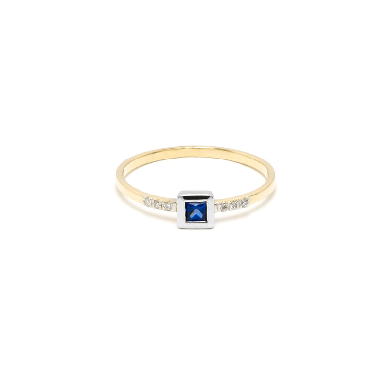 14k Gold Sapphire & Diamond Ring/Stackable