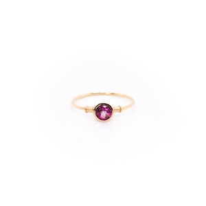 14k Gold Pink Tourmaline Ring/ Stackable