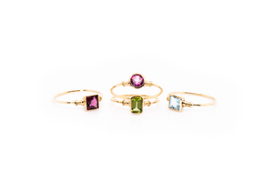14k Gold Peridot Ring/ Stackable