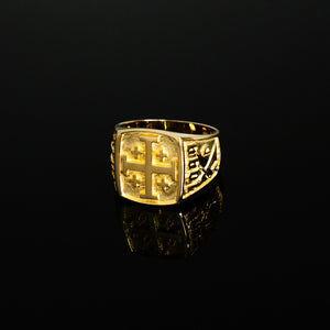 EOHSJ Ring, 18k Gold Jerusalem Cross Ring