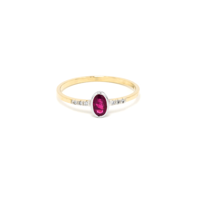 14k Gold Ruby & Diamond Ring/Stackable
