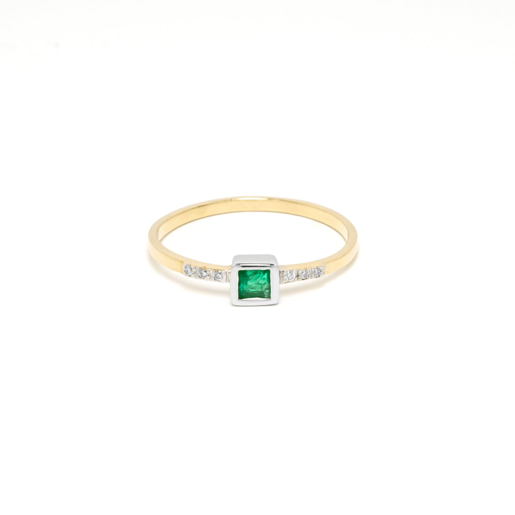 14k Gold Emerald & Diamond Ring/Stackable