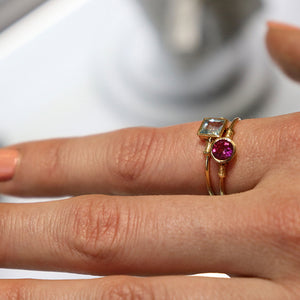 14k Gold Purple Tourmaline Ring/ Stackable