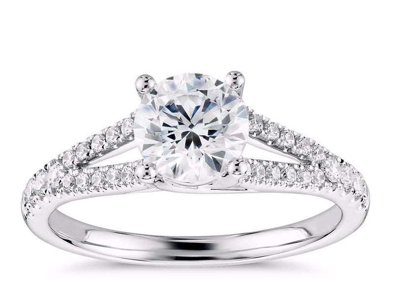White Gold Split Shank Trellis Diamond Engagement Ring