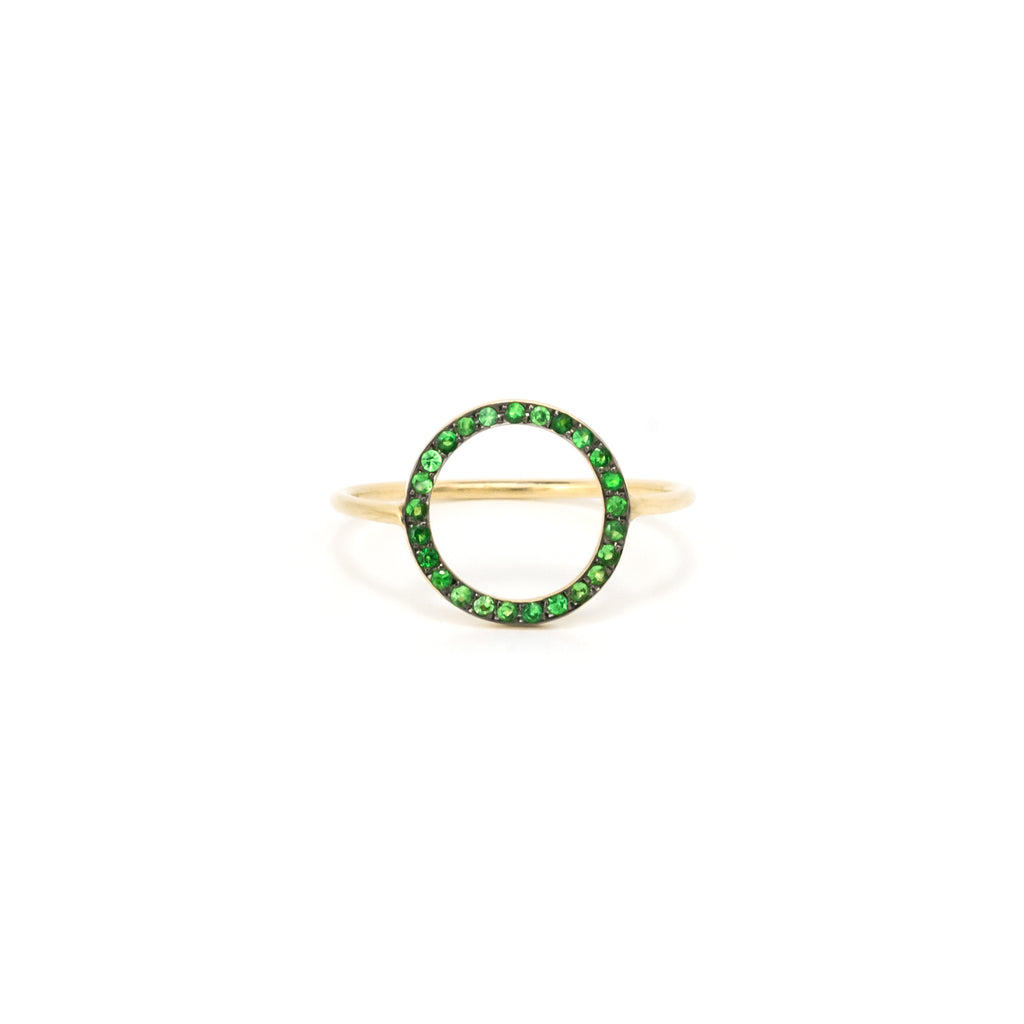14k Solid Gold Ring/Tsavorite Ring/Circle Fashion Ring