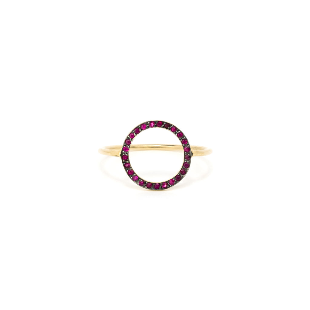 14k Solid Gold Ring/Ruby Ring/Circle Fashion Ring