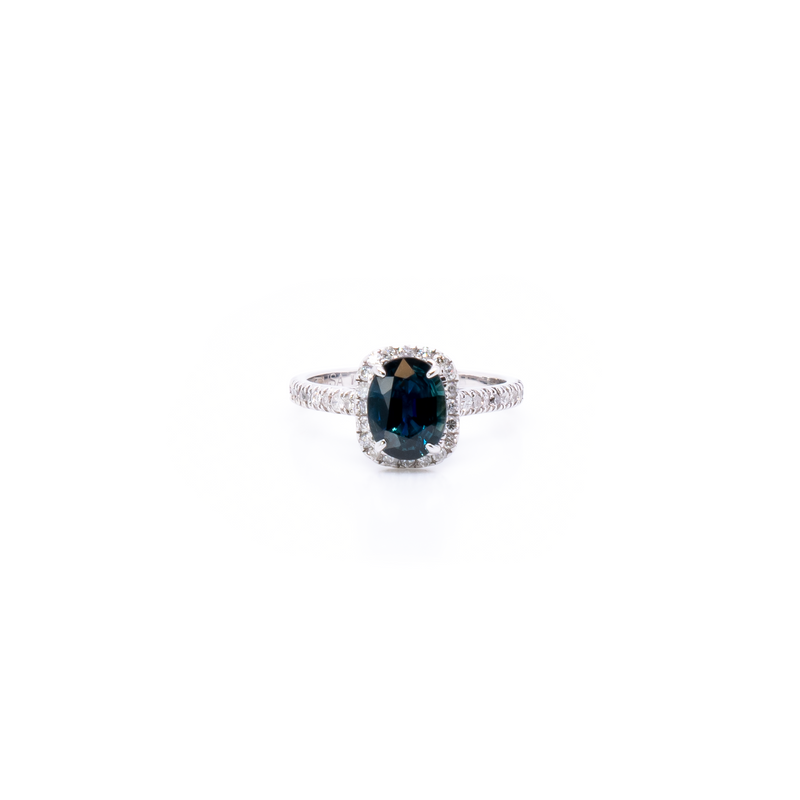 Natural Deep Blue Sapphire and Diamond Ring