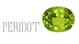 faceted peridot on white background kbeau jewelry blog post