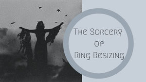 silhouette of witch with outstretched arms and birds flying above her blog post about ring resizing by kbeau jewelry
