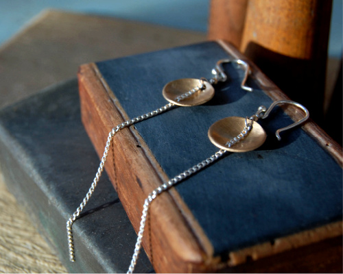 Small bronze domes and sterling silver chain earrings from kbeau jewelry