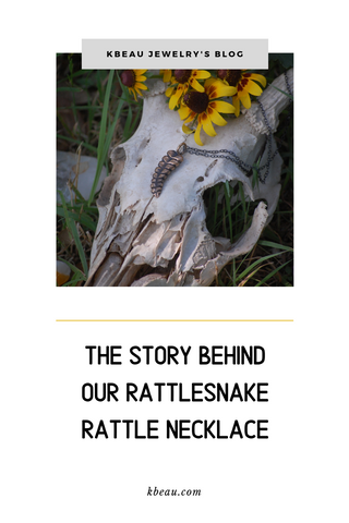 Pinterest image to blog post about rattlesnake rattle neckalce by kbeau jewelry