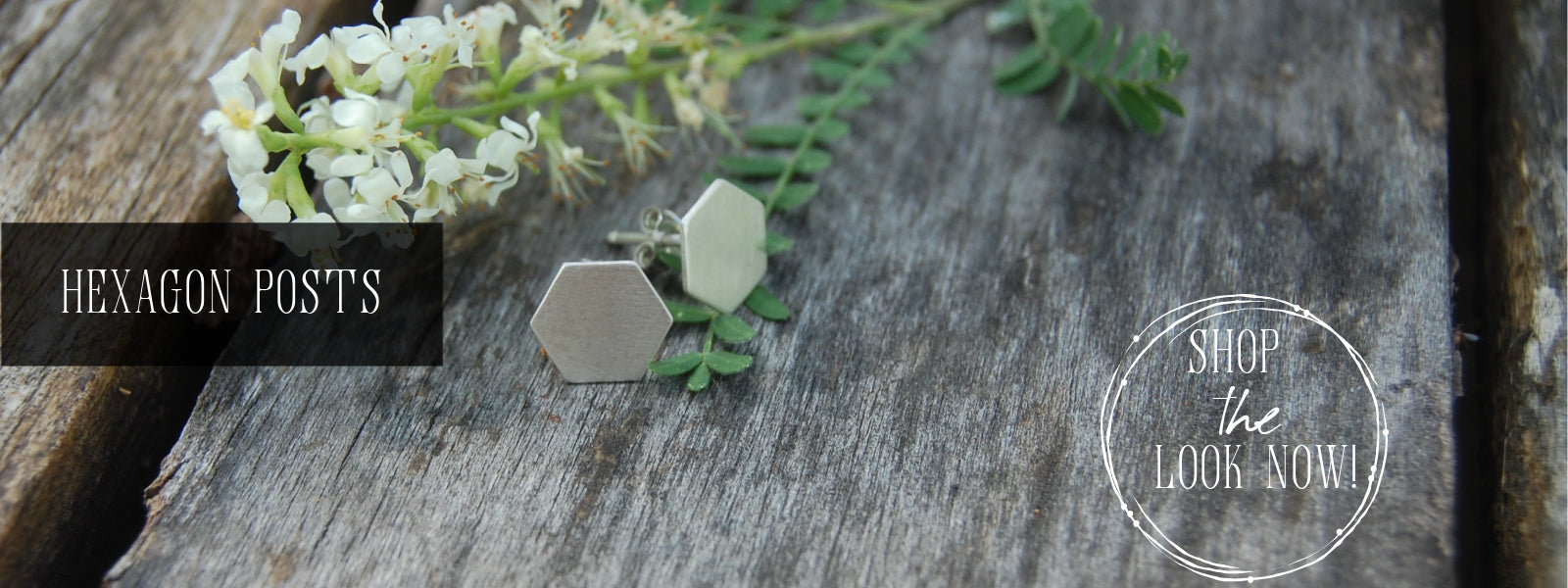 small brushed silver hexagon post earrings from kbeau jewelry
