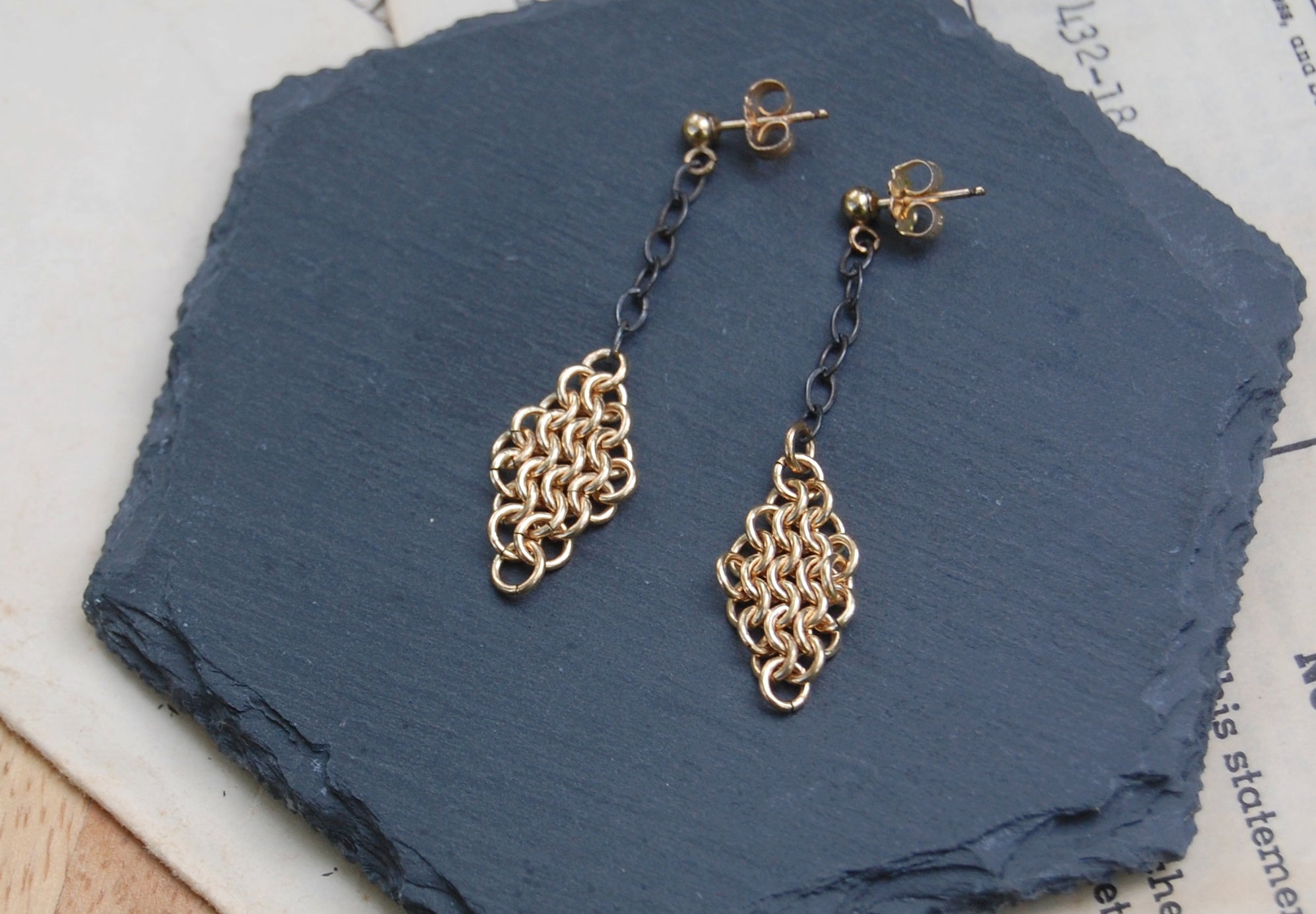 gold chain maille earrings on dark sterling silver chain from kbeau jewelry