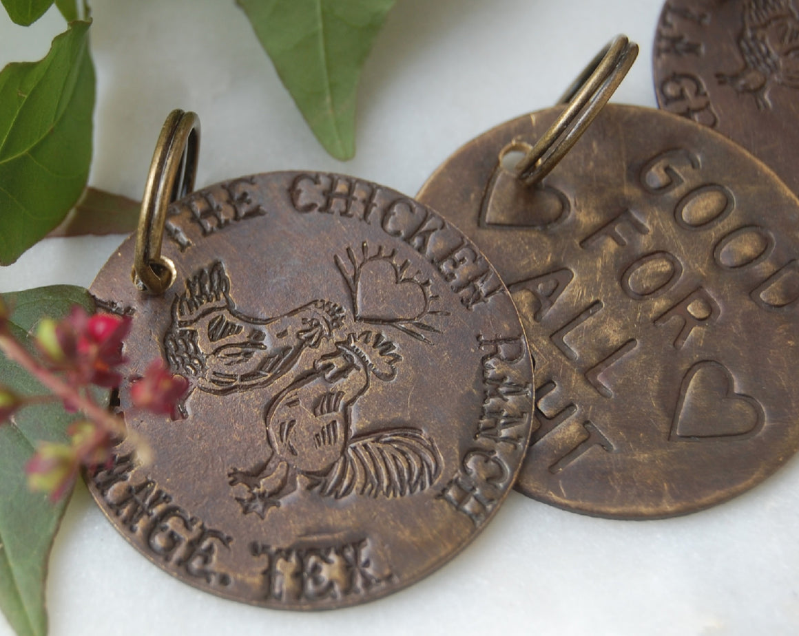 Replica of chicken ranch brothel tokens made into keychains by kbeau jewelry