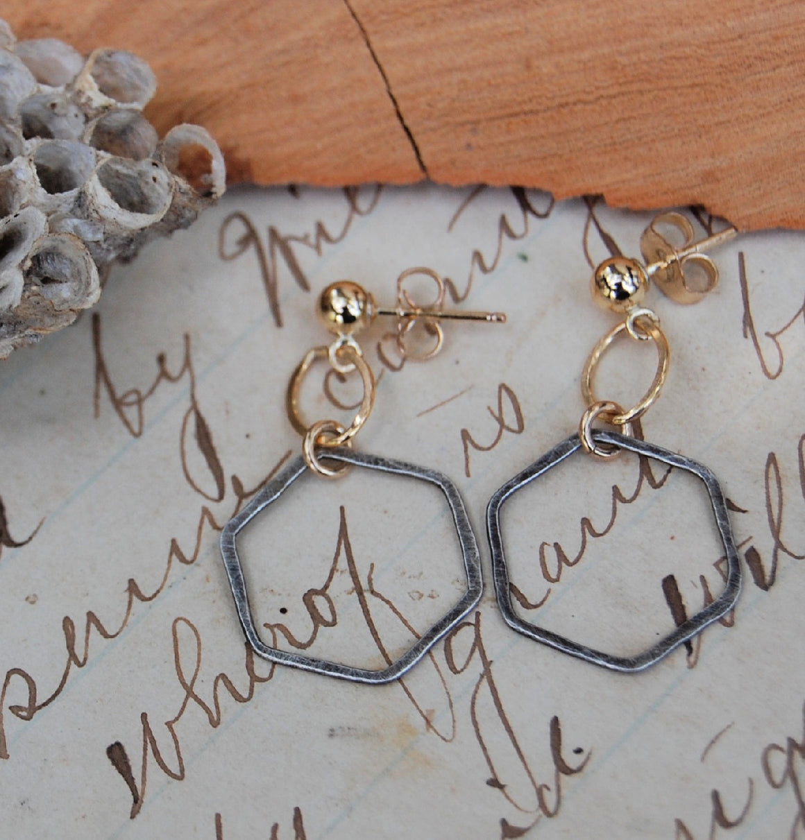 Hexagons with gold-filled accent