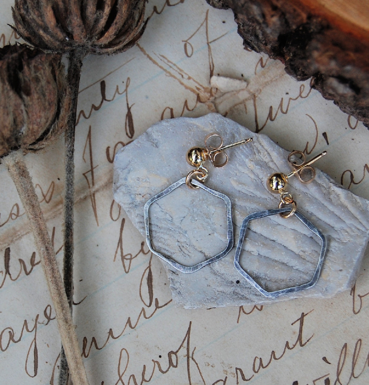 sterling silver hexagons textured and patina on gold-filled ear posts earrings by kbeau jewelry