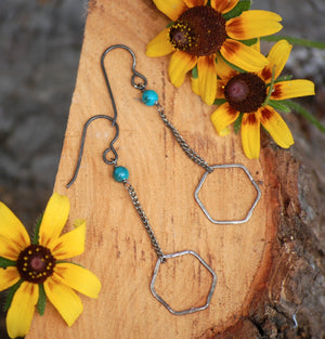 hexagons on a chain with turquoise accent earrings by kbeau jewelry