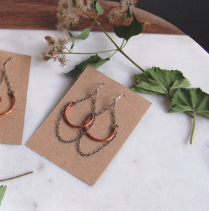 reclaimed copper earrings on sterling silver chains with patina finish from KBeau jewelry
