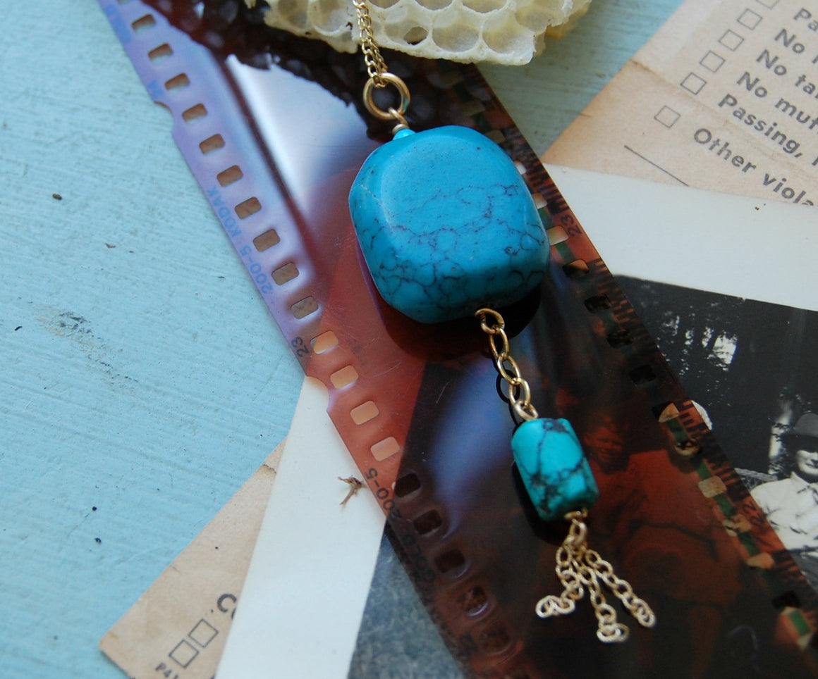 Square Turquoise with Short Chain Tassel