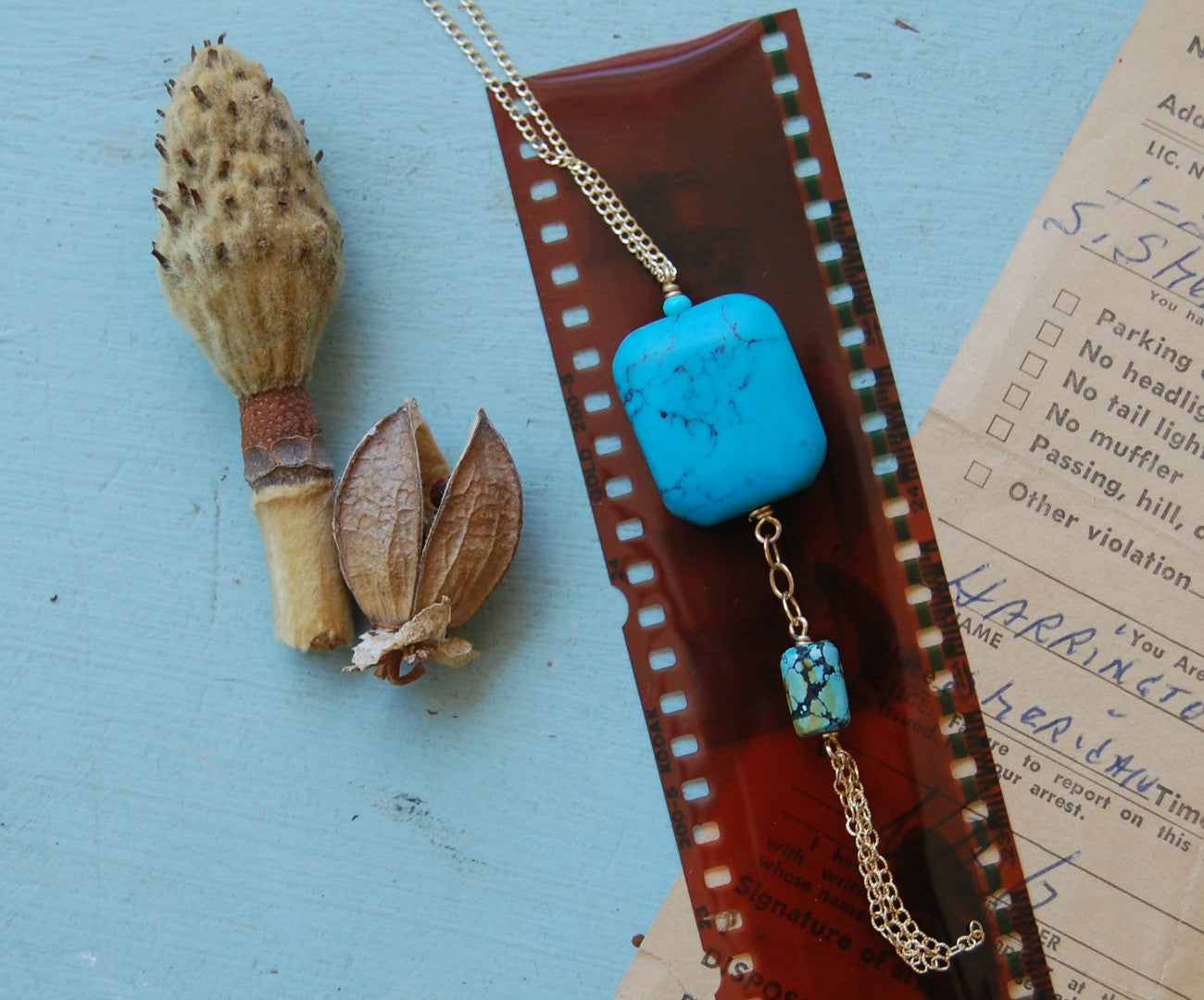 Square Turquoise Pendant with tassel