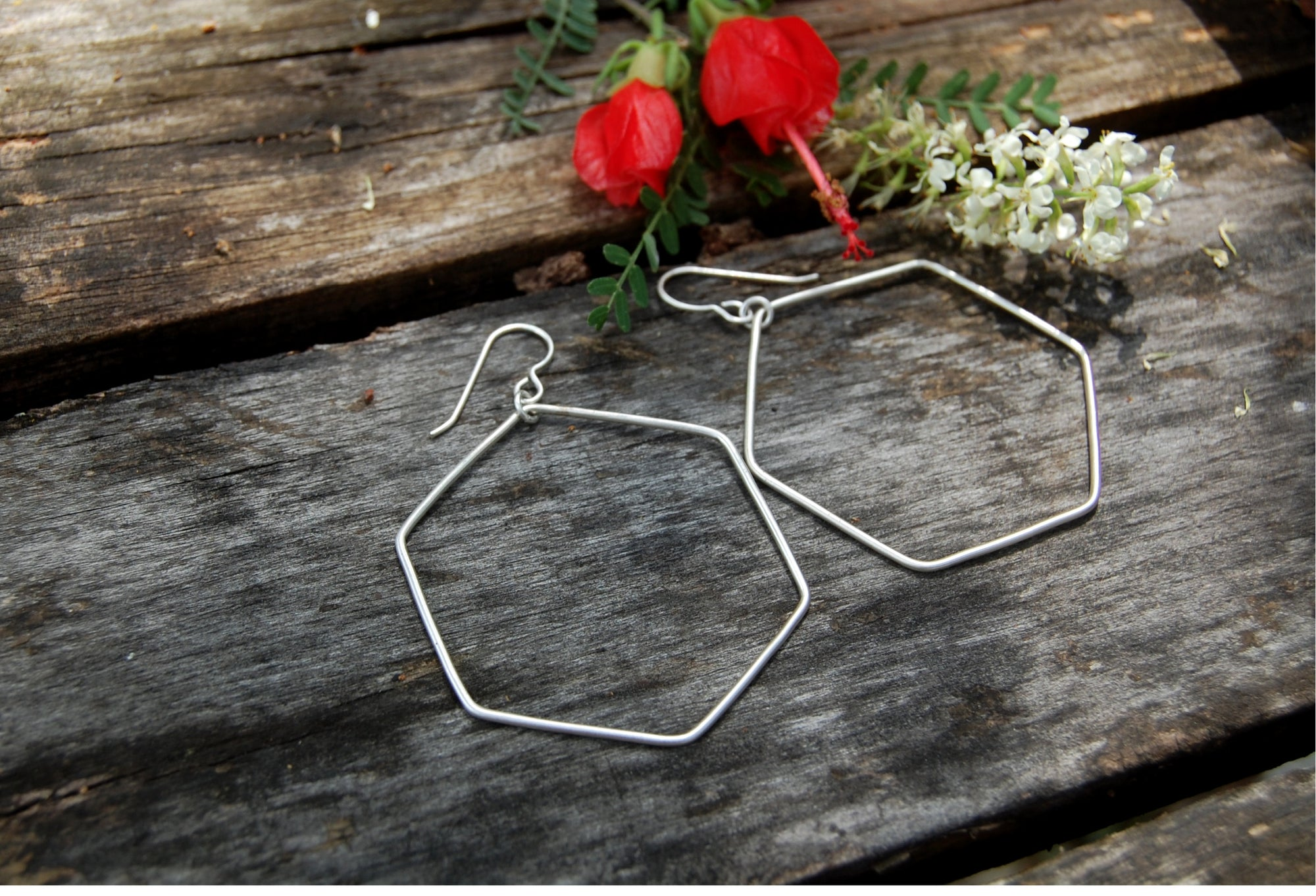 sterling silver hexagon hoop earrings from kbeau jewelry