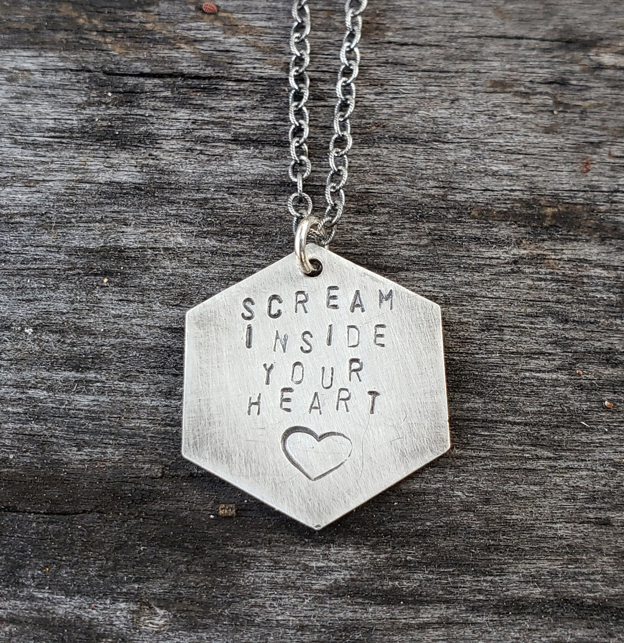 Stamped Pendant - Scream Inside Your Heart