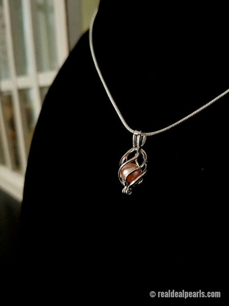 CONFIDENCE - Oyster Opening with Sterling Silver Cage Necklace