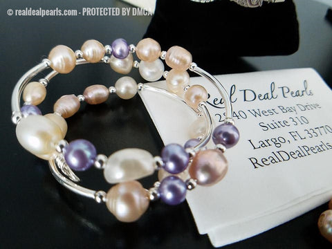 Sterling and Steel Memory Wrap Bracelet with Monster Opening and 5 Accent Freshwater Pearls
