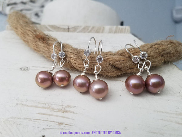 Sterling Edison-Like Pearl CZ Drop Earrings