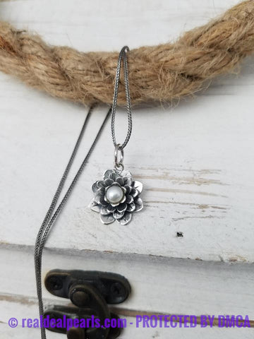 Sterling Silver and Pearl Pendant Necklace, 'Sacred White Lotus'
