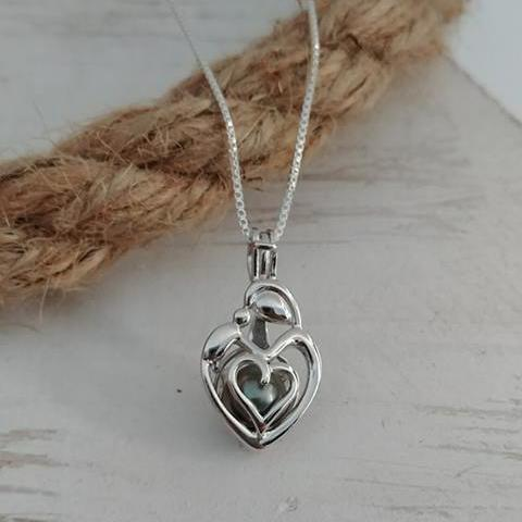 Mother's Day Mom and Baby Sterling Silver Cage Necklace