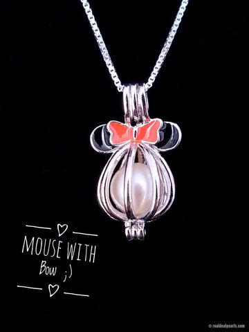 Mouse with Bow - Oyster Opening with Sterling Silver Cage Necklace