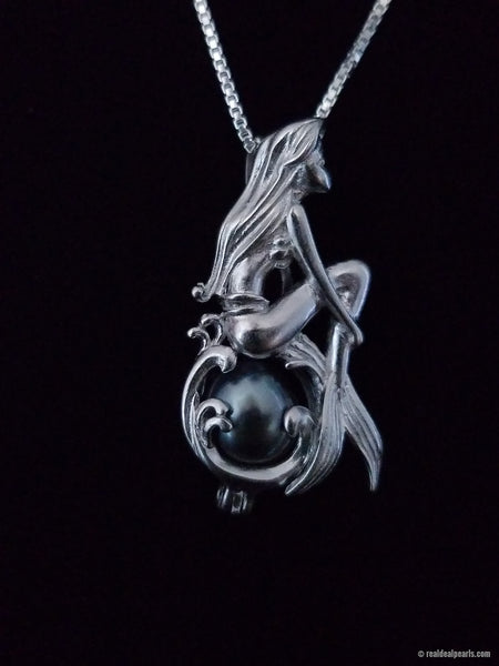 Mermaid Sterling Silver Cage Necklace