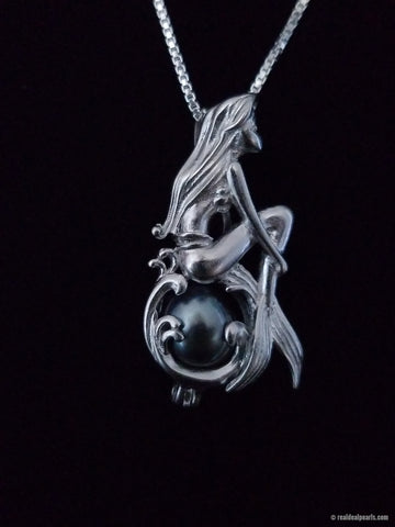Mermaid Sterling Silver Cage with Cultured Tahitian Pearl