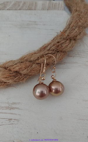 14K Edison-Like Pearl Drop Earrings