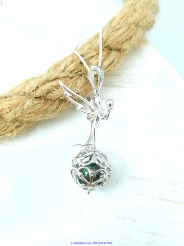 Faith | Triumphant Angel Sterling Silver Cage with Cultured Freshwater or Tahitian Pearl