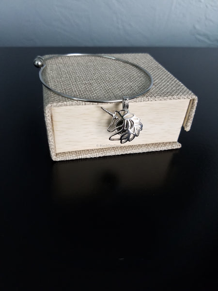 Stainless Steel Charm Bracelet with Sterling Cage and Oyster Opening