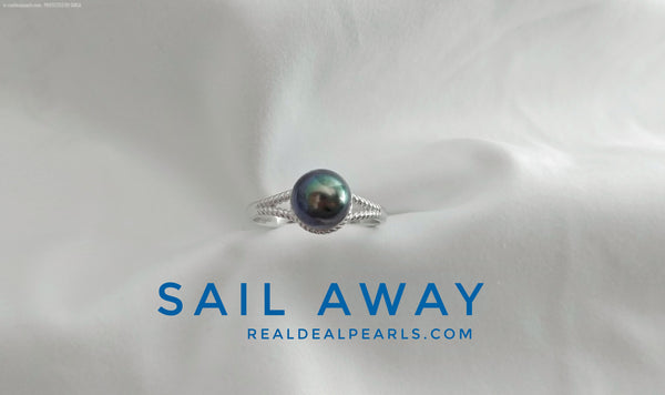 Sail Away | Sterling Silver Ring with Cultured Tahitian