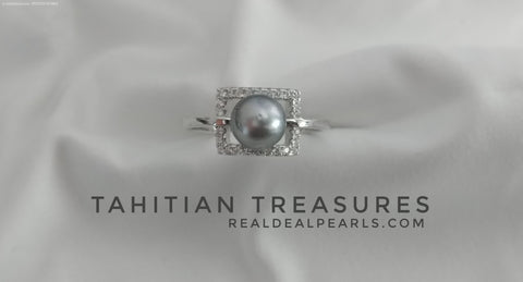 Tahitian Treasures | Sterling Silver CZ Treasure Box Ring with Cultured Tahitian