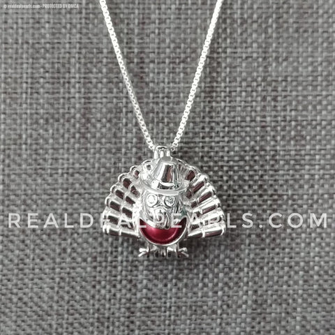 Gobble Gobble Turkey Sterling Silver Cage Necklace