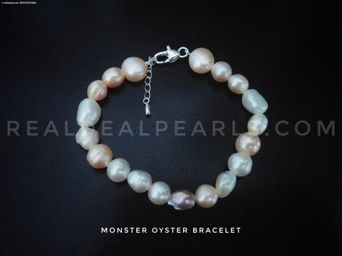 Silk and Sterling Bracelet Includes Monster Oyster Opening