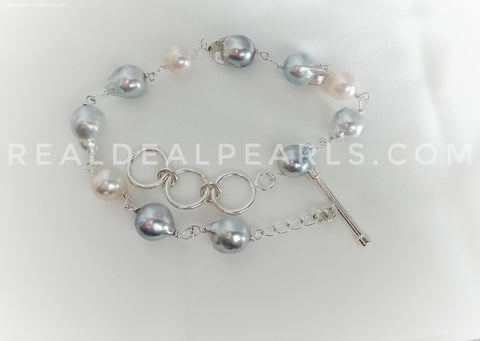 Gray and Pink Cultured Akoya Sterling Silver Bracelet